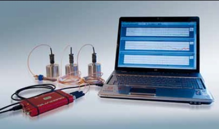 Three (X-Y-Z) accelerometers, Data Physics SignalCalc Dynamic Signal Analyzer, Laptop